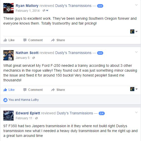 5 Star Reviews on Facebook - transmission shops
