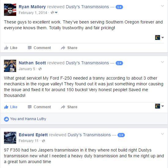 5 Star Reviews on Facebook - transmission shops